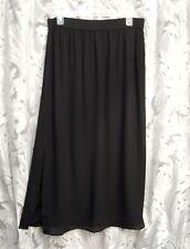 VERY BLACK SEMI-SHEER CHIFFON LINED SLITTED PULL-UP LONG MAXI SKIRT DRESS~2X~NEW