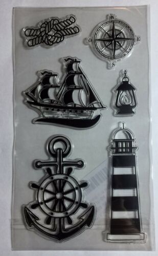 BNIP Lighthouse//Compass//Ships Free P/&P Nautical//Sea Clear Rubber Stamps