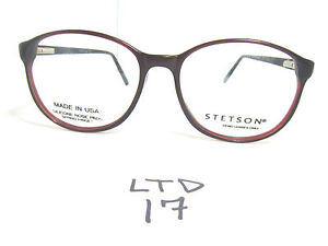 4096b47e0f Vintage 80s 90s STETSON Round Eyeglass Frame P3 Style Black Merlot ...