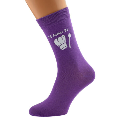 I/'d Rather Be Cooking Baking with Chef Hat Image Printed on Ladies Purple Socks