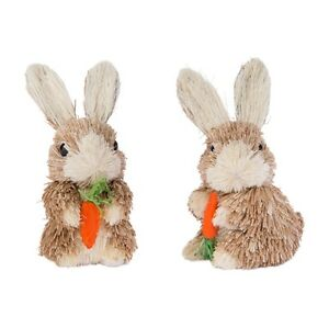 "RAZ Imports~4"" Easter Brown Bunny Rabbit w/ Carrots~Set 2~Grass~Use tree/wreath"