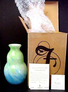 Fenton-Art-Glass-Dave-Fetty-Connoisseur-Caribbean-Day-Vase-New-Mint-In-Box
