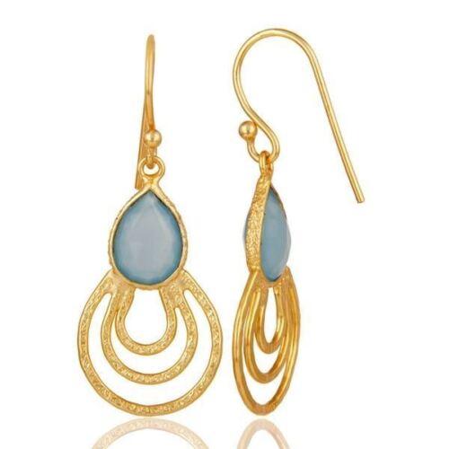 18K Blue Chalcedony 925 Sterling Silver Dangle Earrings Gemstone Jewelry