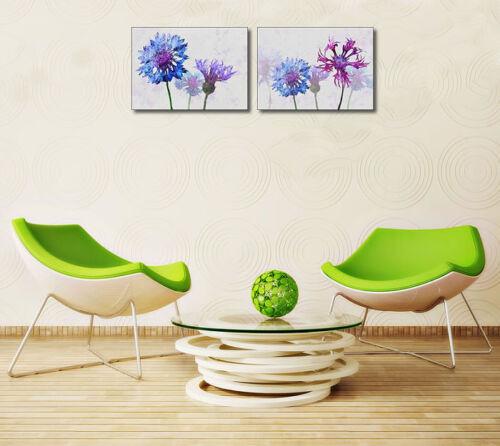 Colorful Cornflowers II Keilrahmen-Bild Leinwand Blumen Kornblume blau Ken Roko