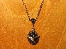 Russian FABERGE inspired BLACK Gold ENAMEL Swarovsky Crystals EGG pendant Easter