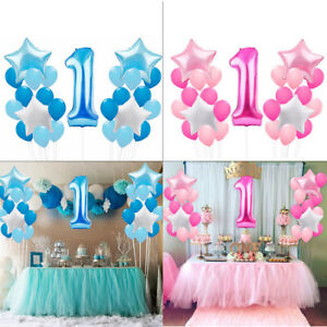 25pcs Foil Latex Balloons Set 1st Birthday Party