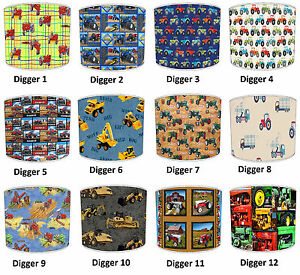 Lampshades ideal to match boys digger duvet boys tractor wallpaper image is loading lampshades ideal to match boys digger duvet boys mozeypictures Images