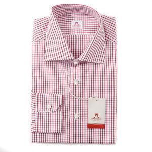 NWT-475-MATTABISCH-by-KITON-Red-White-Grid-Check-Cotton-Shirt-17-Modern-Fit