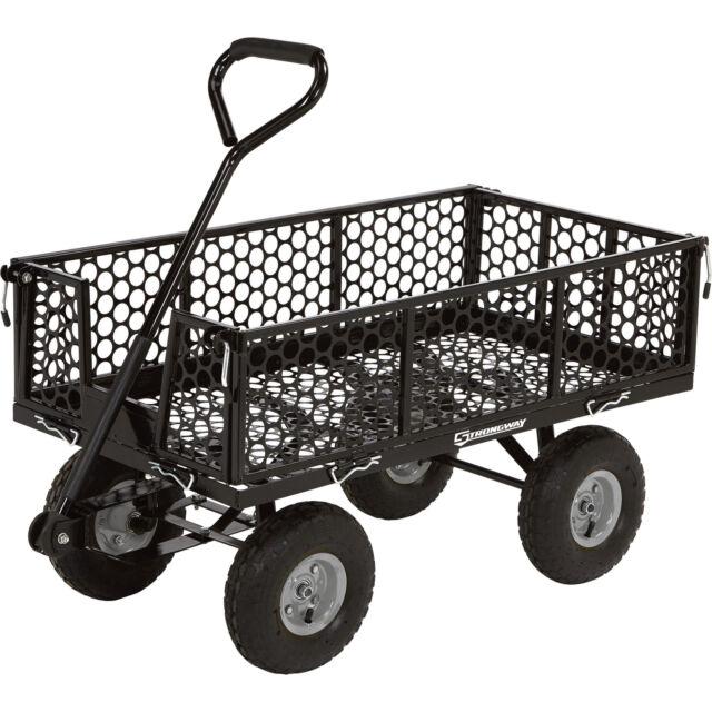 Steel Yard Garden Lawn Pull Black Utility Cart, 40in.L X 20in.W, 800 Lb.  Cap.