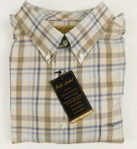NWT-Gold-Label-Roundtree-Yorke-Blue-Tan-Plaid-LS-Men-Shirt-Big-Tall-2XT-2XB-3XB