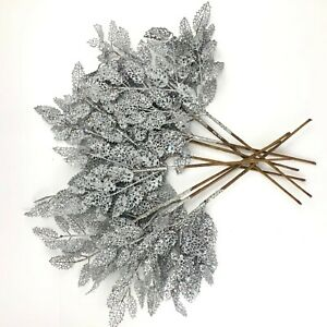 Holiday-Lane-Silve-Glitter-Leaves-Decor-Holiday-Christmas-Tree-Ornament-Lot-of-9