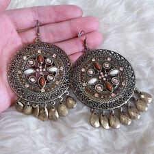 Vintage Womens Antique Patterned Plate Small Plastic Teardrop Bead Hook Earrings