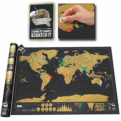 ORIGINAL DELUXE LARGE Scratch Map From Luckies Personalised World Map Gift Idea