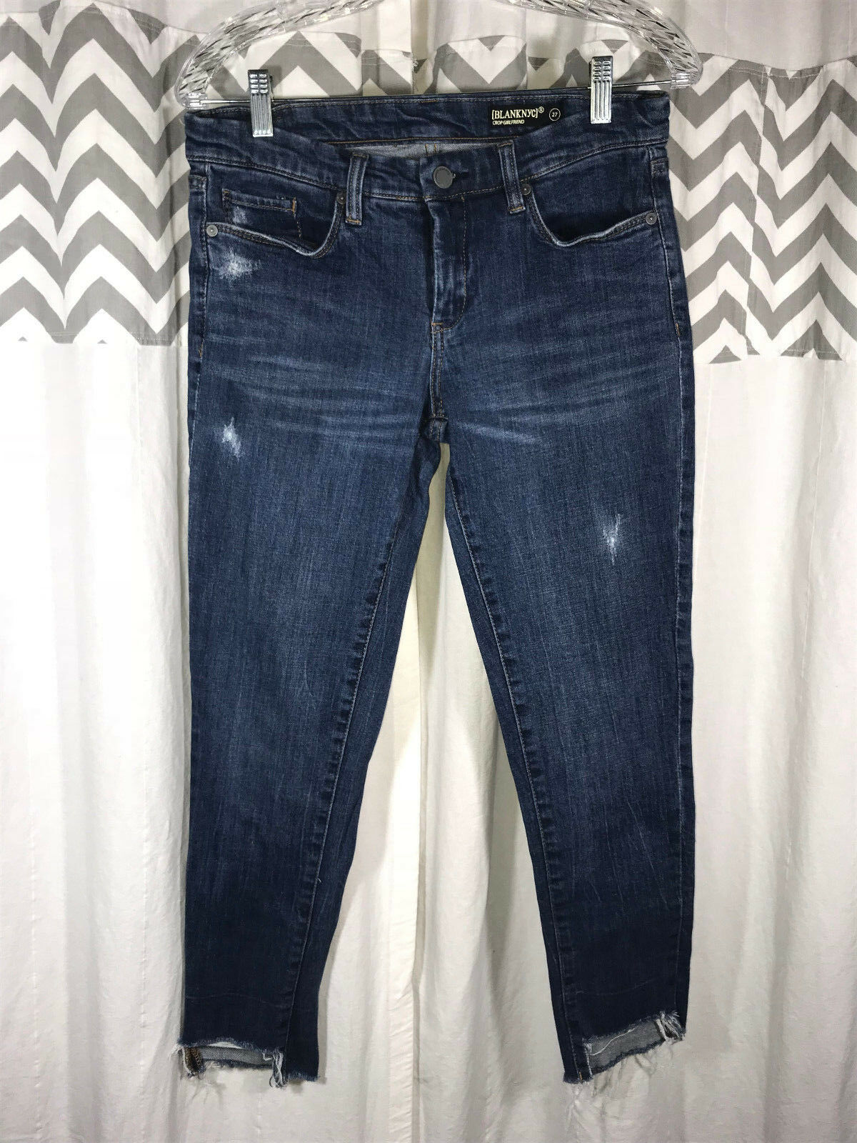 BLANK NYC Crop Girlfriend Size 27 4 Denim Jeans High Low Cuff Distressed PERFECT