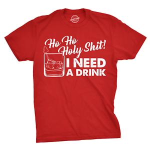 Mens Ho Ho Holy  I Need A Drink T shirt Funny Santa Claus Christmas Tee Guys