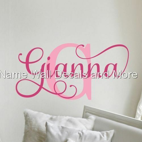 Girls Initial Monogram Personalized Name Vinyl Wall Decal Decor Nursery Bedroom