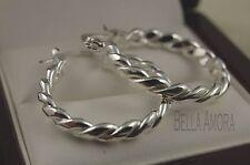Elegant 925 Silver Twist Hoop Earrings 22mm - New - 45