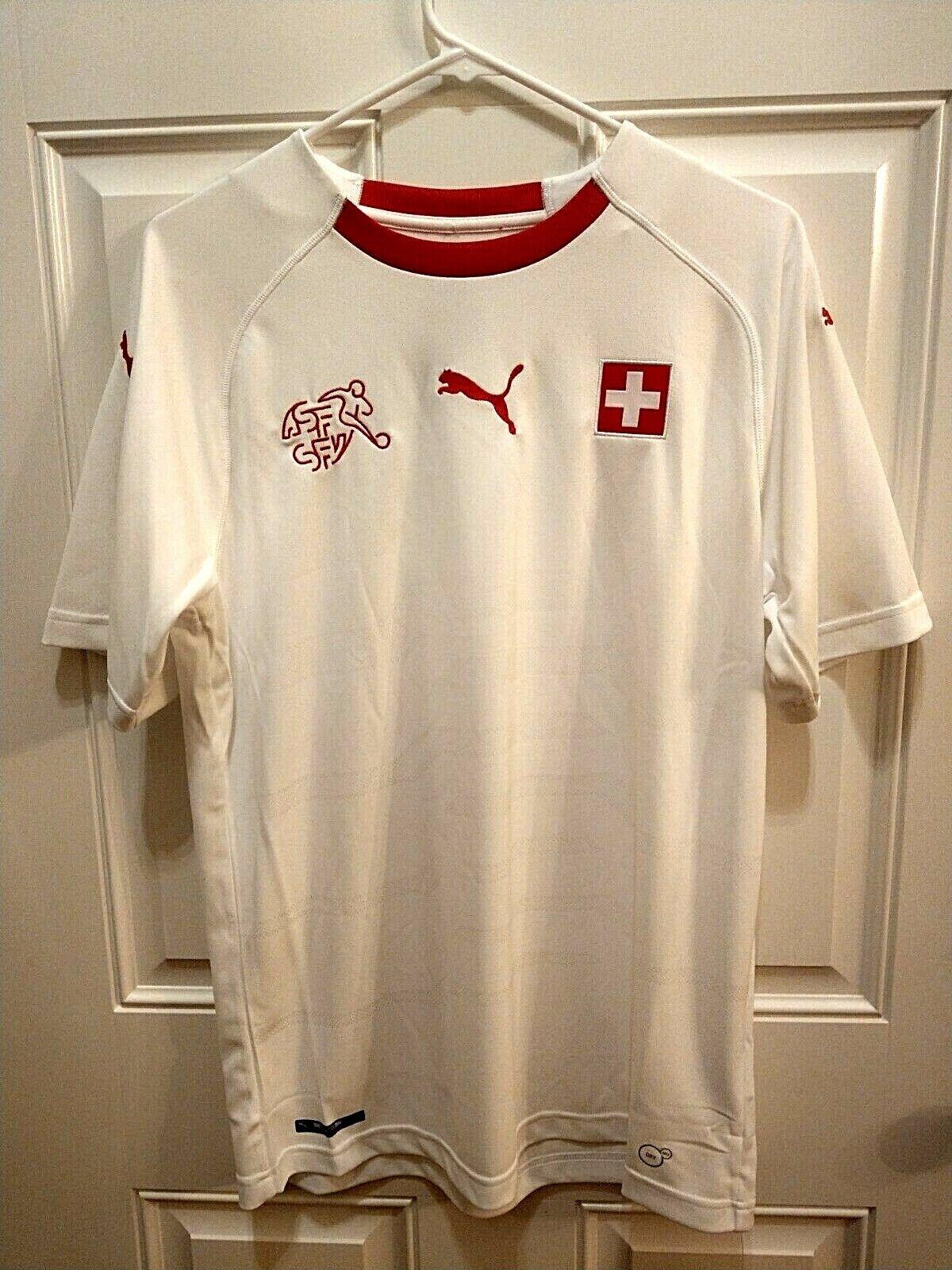 Puma Switzerland Suisse 2018 Away Soccer Jersey bianca rosso 752479 02 Dimensione M