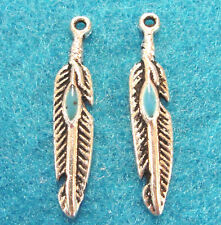 Tibetan Antique Gold Indian Bird FEATHER Charms Ear Drops Findings W40 20Pcs
