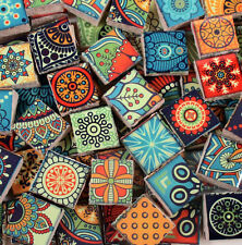 Ceramic Mosaic Tiles - Bright Colors Medallions Moroccan Tile Mosaic Blue Green