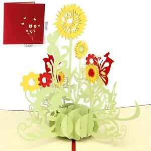 US-Seller-3D-Pop-Up-Greeting-Cards-Sunflower-Birthday-Mother-Day-Xmas-Gift