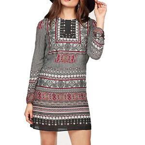 genial Hippie Ethno bunt gemustert DRUCK KLEID Sommerkleid MINI Tunika Gr.40 L