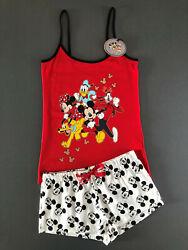 Disney Mickey Mouse Damen Pyjama Shorty Schlafanzug Kurz Top Shorts Set L 42-44