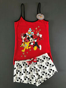 Disney-Mickey-Minnie-Mouse-Damen-Pyjama-Schlafanzug-Kurz-Shorty-XXS-XL-Primark