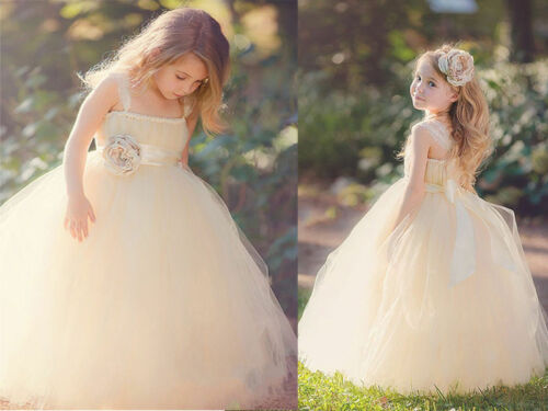 Formal Lace Baby Princess Bridesmaid Flower Girl Dresses Wedding Party Dresse /&
