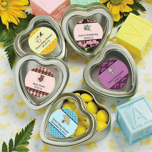 40-200 40-200 40-200 Personalized Heart Shaped Mint Tins - Baby Shower Christening Party Favor d25e8f