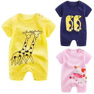 ad376d3b3 Image is loading Summer-Newborn-Infant-Baby-Boy-Girl-Romper-Jumpsuit-