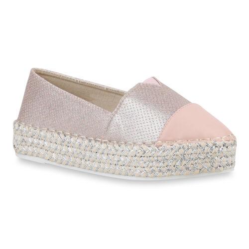 Damen Slippers Espadrilles Bast Metallic Slip Ons Plateau Schuhe 820693 Trendy