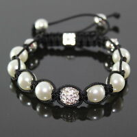 Perlen/Kristall Shamballa Armband/Armreif , Zirkonia ,schwarz/weiß,verstellbar