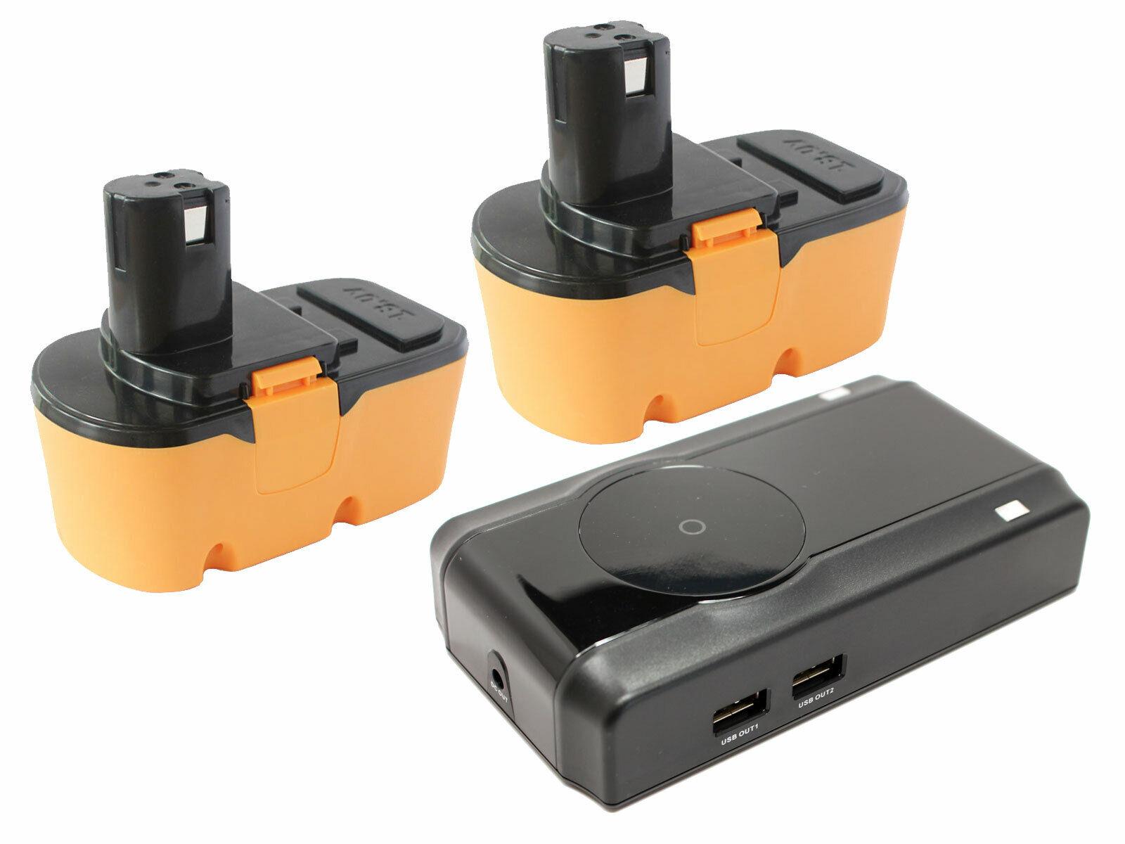 2x Ryobi 18V NICD Battery + Charger for Ryobi p100, p700, p400, p500, p220, p730
