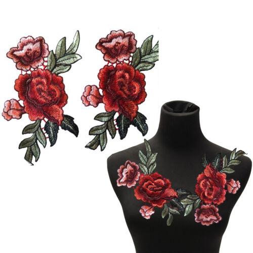 2Pcs Set Rosen-Blumen-Flecken Blumen bestickte Applique-Aufnäher nähen auf  B