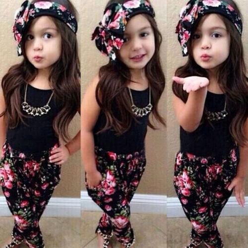 Blumen Hosen Kleidung Kostüm Outfits Set Kinder Mädchen Freizeit Ärmellos Tops