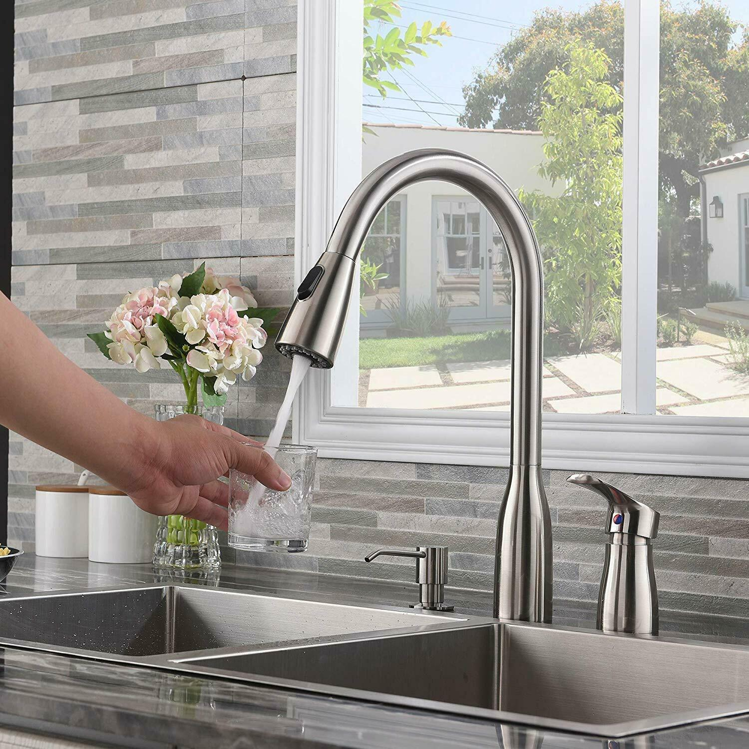 Image of: 3 Hole Pull Out Down Sprayer Kitchen Sink Faucet Brushed Nickel W Soap Dispenser For Sale Online