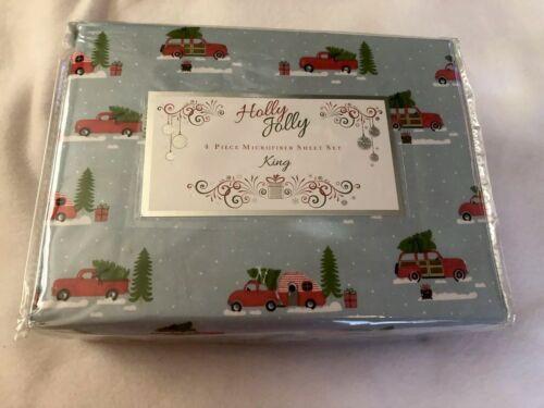 Christmas Caravan Sheets Red Truck Microfiber King 4 Piece Holiday Camper Wagon