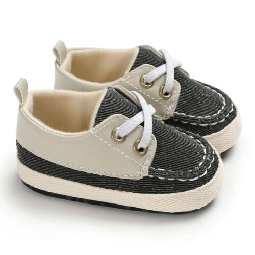 Infant Baby Boys Girls Pre-Walker Soft Sole Pram Shoes Canvas Sneakers Trainers
