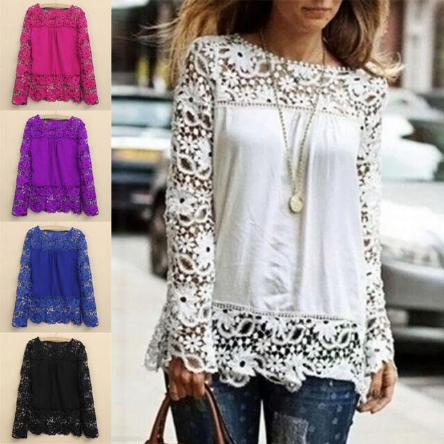 New Fashion Women Sheer Sleeve Embroidery Top Blouse Lace Crochet Chiffon Shirt