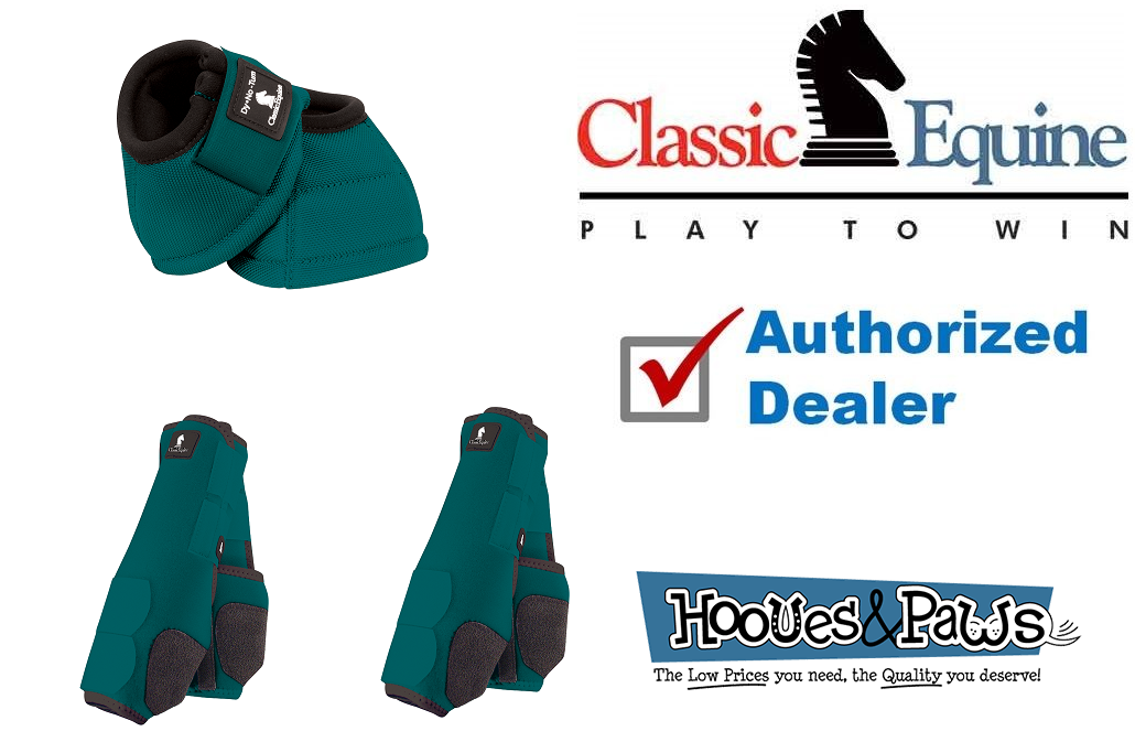 LARGE TEAL CLASSIC EQUINE Front Rear Legacy Sport Horse Leg No Turn Bell Stiefel