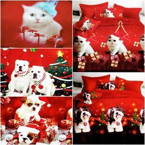 4tlg Bettwäsche 160x200 Garnitur Bettbezug Weihnachten Schneemann Katze Nikolaus