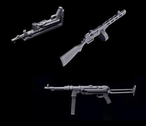 1//35 WWII Sub Machine Gun Set PPSH /& MP40 w//Shoulder Stocks /& Vehicle Mount