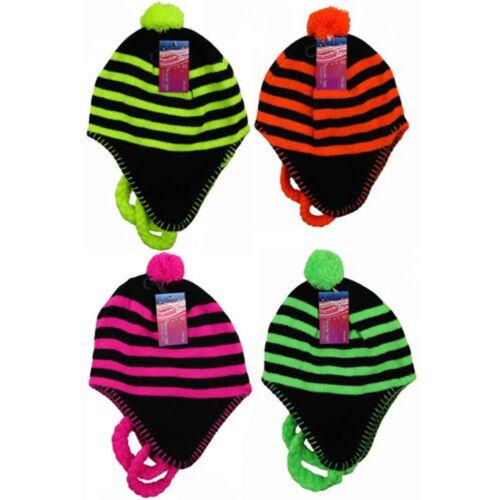CHILDRENS KIDS GIRLS//BOYS NEON THERMAL WINTER HAT WARM BOBBLE INCA EAR WARMERS