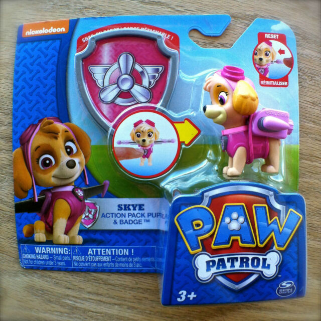 Nickelodeon PAW PATROL SKYE Action Pack Pup & BADGE Snap-On TOOL Transforms girl