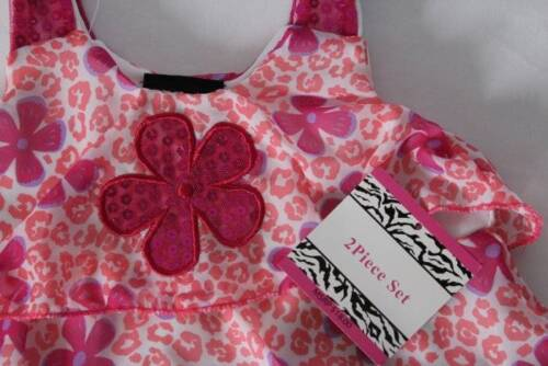 NEW Baby Girls 2pc Outfit Size 12 Mo Tank Top Capri Set Leopard Print Peach Pink