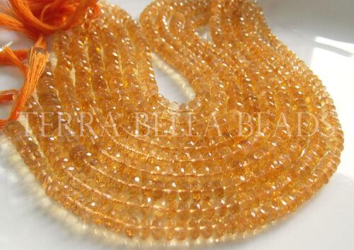 "Full 9"" strand gold CITRINE faceted rondelle gem stone beads 5.5mm - 6mm yellow"