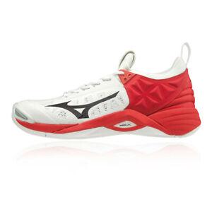 Mizuno-Hommes-Wave-Momentum-Chaussures-De-Sport-En-Salles-Baskets-Rouge-Blanc
