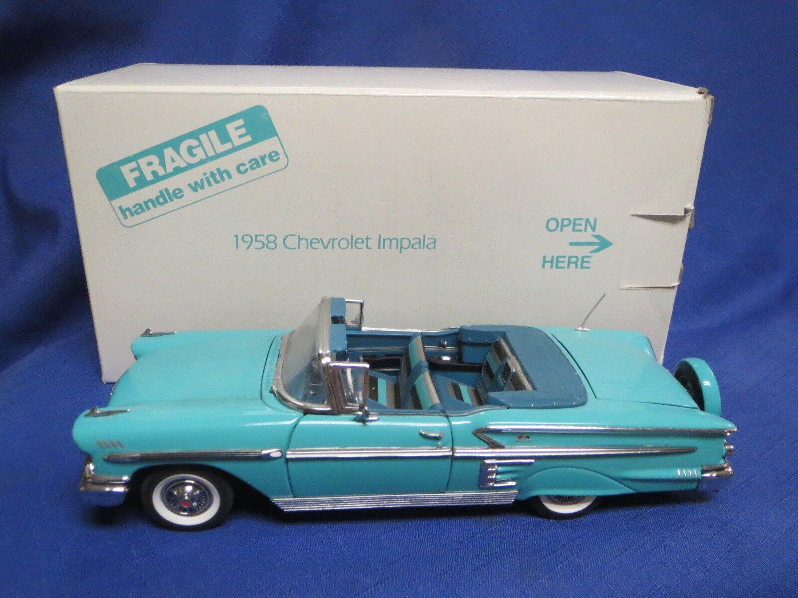 Danbury Comme neuf Turquoise 1958 Chevrolet Impala Convertible 1 24 Iob & titre
