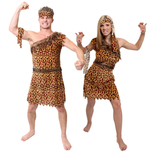 Womens Blue Cavewoman Fancy Dress Costume Stone Age Neanderthal Ladies Outfit